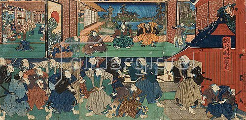 Utagawa Kunisada: Der Bote des Shogun verkündet dem Haus des Fürsten Enya, dass das gesamte Lehen konfisziert wird (Vierter Akt aus dem Kabuki-Schauspiel Vorlage zur Schönschrift: Ein Schatzhaus von getreuen Samurai). 1839