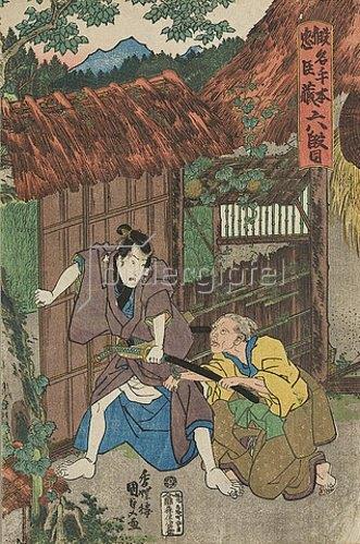 Utagawa Kunisada: Am Wohnort des Kampei (Sechster Akt aus dem Kabuki-Schauspiel Vorlage zur Schönschrift: Ein Schatzhaus von getreuen Samurai). 1839