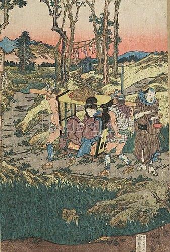 Utagawa Kunisada: Der Freudenhausbesitzer lässt Okaru in einer Sänfte fort tragen (Sechster Akt aus dem Kabuki-Schauspiel Vorlage zur Schönschrift: Ein Schatzhaus von getreuen Samurai). 1839