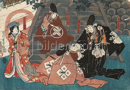 Utagawa Kunisada: Moronao beleidigt den Fürsten Momonoi und die Gemahlin von Fürst Enya (Erster Akt aus dem Kabuki-Schauspiel Vorlage zur Schönschrift: Ein Schatzhaus von getreuen Samurai). 1849