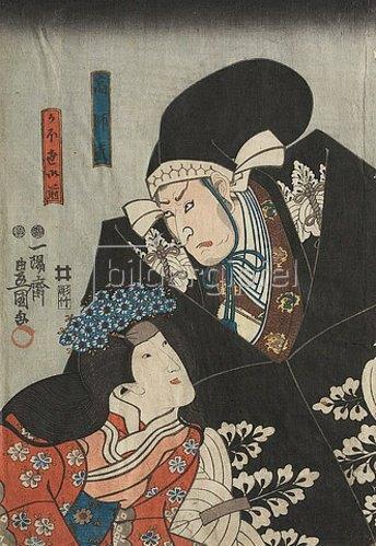 Utagawa Kunisada: Moronao bedrängt die Ehefrau des Fürsten Enya (Erster Akt aus dem Kabuki-Schauspiel Vorlage zur Schönschrift: Ein Schatzhaus von getreuen Samurai). 1849