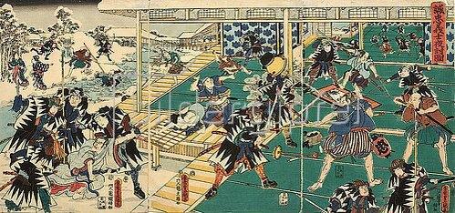 Utagawa Kunisada: Der nächtliche Überfall auf die Residenz des Kono Moronao (Elfter Akt aus dem Kabuki-Schauspiel Vorlage zur Schönschrift: Ein Schatzhaus von getreuen Samurai). Um 1856