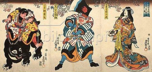 Utagawa Kunisada: Drei Hauptdarsteller (Aus dem Kabuki-Schauspiel Japanische Beispiele von Gefolgstreue und Kindesliebe). Um 1845