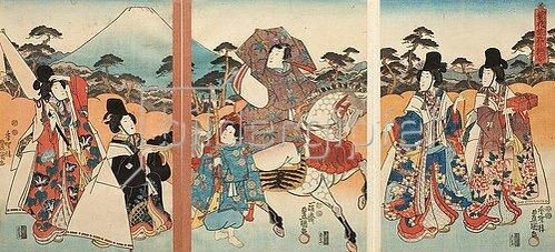 Utagawa Kunisada: Der Galan Ashikaya Hikarushi mit seinem Pagen unterwegs mit vier schönen Damen. Um 1847
