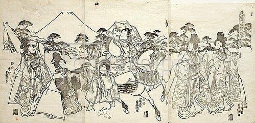 Utagawa Kunisada: Der Galan Ashikaya Hikarushi unterwegs mit seinem Pagen und vier schönen Damen. Um 1850