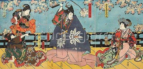 Utagawa Kunisada: Der berühmte Bogenschütze Minamotono Tametomo, den es nach Okinawa verschlug (Aus einem Kabuki-Schauspiel nach dem Roman Seltene Kunde vom Bogen des Mondes). 1854
