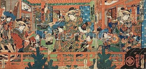 Utagawa Kunisada: Kurtisanen mit ihren Schülerinnen im Freudenhaus. Um 1840
