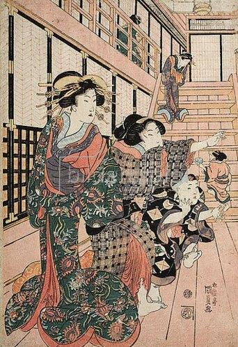 Utagawa Kunisada: Kurtisanen, ihre Dienerinnen und Schülerinnen spielen Blindekuh. Um 1815