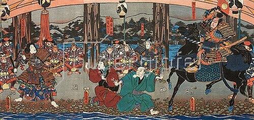 Utagawa Kunisada: (recto) Naozane trifft Atsumori bei der Brücke - Aus dem Kabuki-Schauspiel Keimendes Grün auf dem Schlachtfeld von Ichinotani. 1852