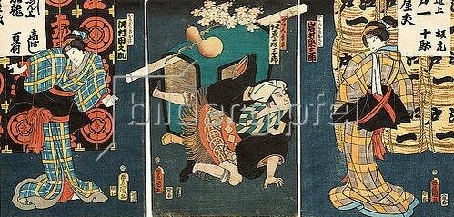 Utagawa Kunisada: Bühnenszene aus dem Kabuki-Schauspiel Die Begegnung der Rivalen im Vergnügungsviertel (recto von 38349). 1861