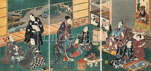 Utagawa Kunisada: Festessen der Brüder Ichikawa und ihrer Gäste bei Danjuro VIII.. Um 1850