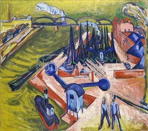 Ernst Ludwig Kirchner: Westhafen in Frankfurt am Main. 1916.