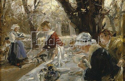 Arthur Langhammer: Im Biergarten. Um 1895