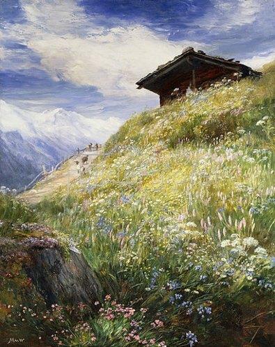 John MacWhirter: Eine Schweizer Bergwiese.