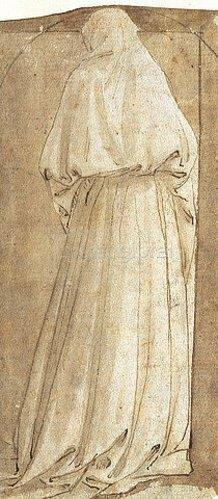 Maso (Tommaso di Antonio) Finiguerra: Stehende Gewandfigur vom Rücken gesehen.