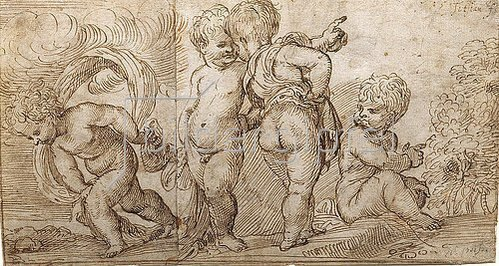 Domenico Campagnola: Vier Putten.