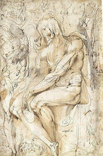 Battista Giovanni Franco: Skizzenblatt mit einem sitzenden Greis mit langem Haar und Bart und einem stehenden Akt.