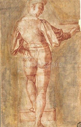 Baccio Bandinelli: Stehende männnliche Figur vom Rücken gesehen, eine Schale tragend. Um 1518