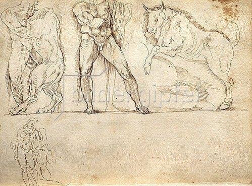 Giacomo della Porta: Skizzen nach dem Herkues-Sarkophag in der Villa Borghese, Rom - Seite 25 des Skizzenbuches ,L'arte del disegno e le vivezze dell'ingegno'. Um 1545/46