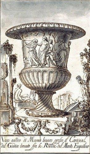 Pier Leone Ghezzi: Zwei antike Vasen. Um 1725/35