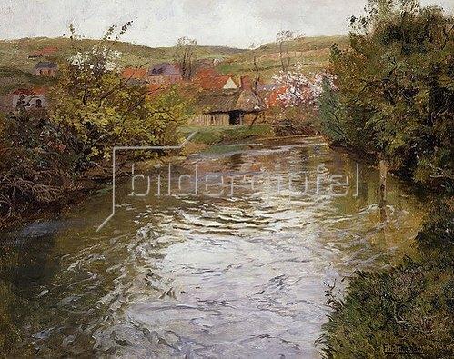 Frits Thaulow: Bauernhäuser an einem Flusslauf.