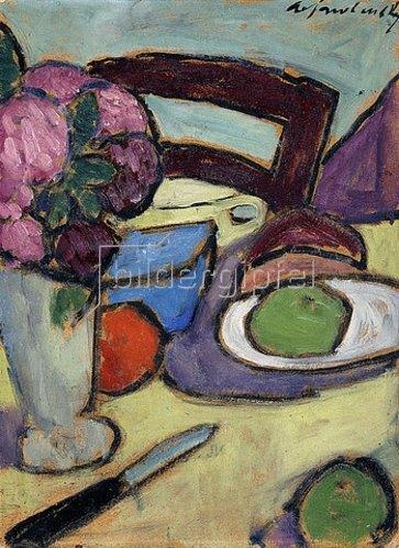 Alexej von Jawlensky: Stillleben mit Stuhl und Blumenvase. 1906