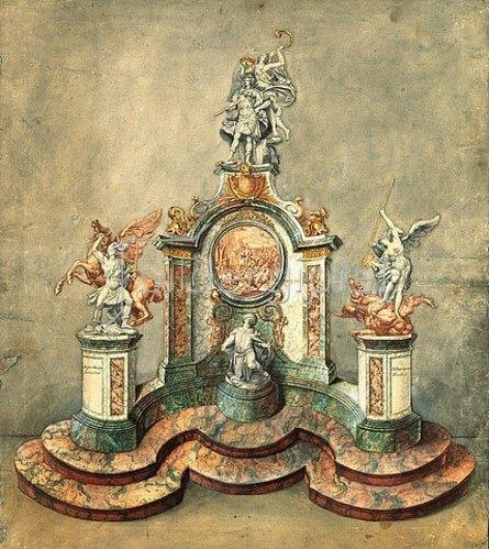 Guillielmus de Grof: Entwurf zu einem Denkmal für Maximilian II. Emanuel. Um 1716