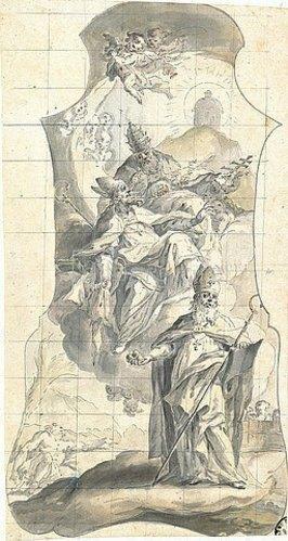 Meinrad van Aw: Die Heiligen Nikolaus, Martin und Urban. Um 1750