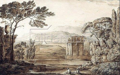 Franz Kobell: Klassische Landschaft mit Ruinen und Pyramide.
