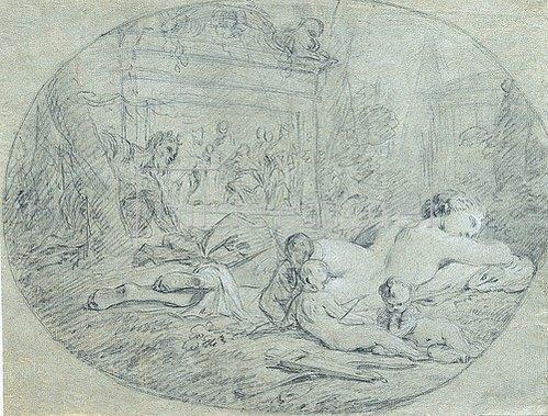 Pierre Subleyras: Die schlafende Venus, von einem Satyrn beobachtet. Um 1739