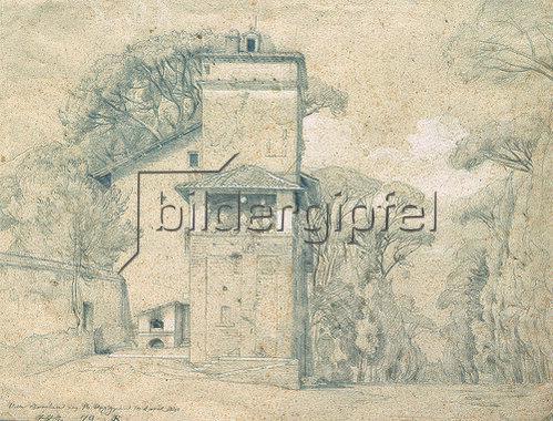 Johann Wilhelm Schirmer: Casa Cenci im Park der Villa Borghese, Rom. 1839/40