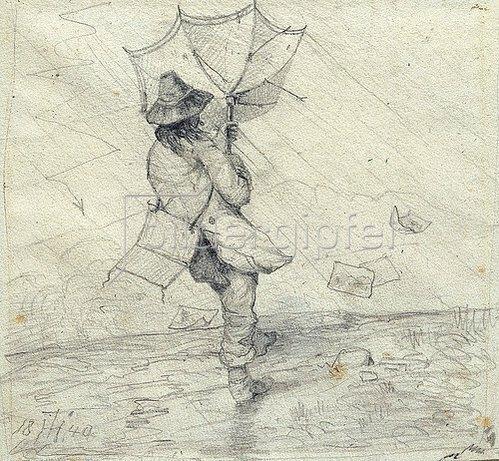 Theodor Hosemann: Maler im Gewittersturm. 1840