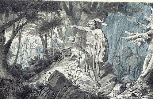 Wilhelm Camphausen: Tristan und Kadin beobachten heimlich Isolde beim Ausritt. 1843