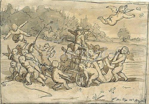 Theodor Mintrop: Eroten und Putten ziehen Amor auf einem Pflug. 1855