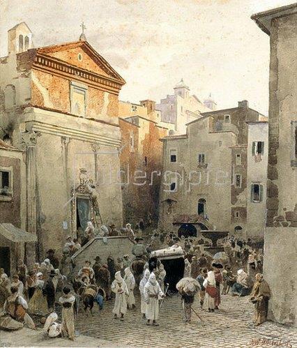 Oswald Achenbach: Leichenbegräbnis in Palestrina. Um 1857