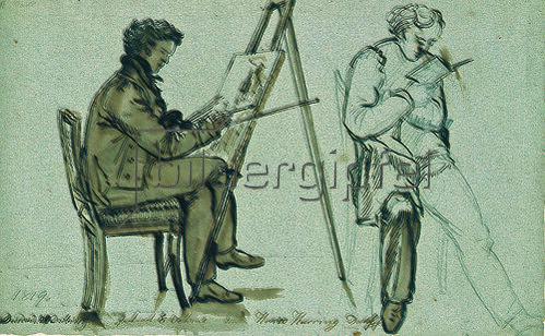 Johan Christian Clausen Dahl: Bildnisse von Ernst Oehme und Harro Harring. 1819