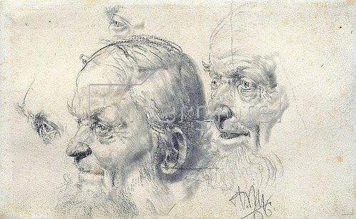 Adolph von Menzel: Kopf- und Augenstudien eines alten Mannes. 1866