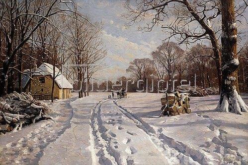 Peder Moensted: Eine Schlittenfahrt durch eine Winterlandschaft. 1915