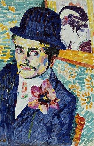 Robert Delaunay: Mann mit einer Tulpe am Revers (Portrait of Jean Metzinger). 1906