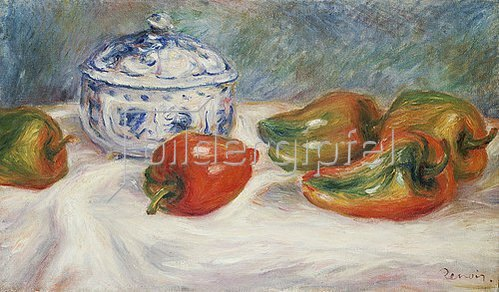 Auguste Renoir: Stillleben mit Zuckerdose und Paprika. Um 1905