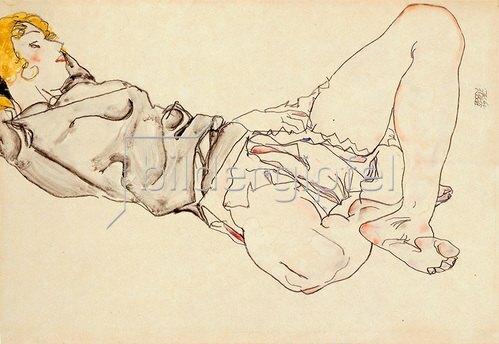 Egon Schiele: Liegende Frau mit blondem Haar. 1912