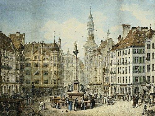 Simon Quaglio: Der Schrannenplatz in München. 1835