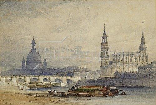William Callow: Dresden von der Elbe aus gesehen. 1853