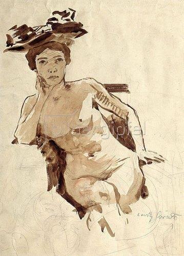Lovis Corinth: Weiblicher Halbakt mit Hut. Um 1910