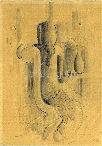 Oskar Schlemmer: Sitzendes Mädchen. 1936