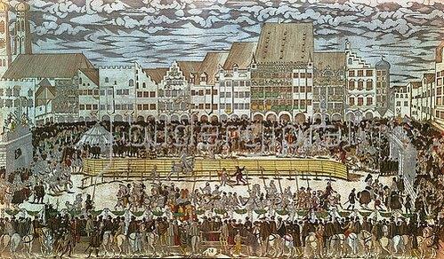 Nikolaus Solis: Vermählung Wilhelms V. von Bayern mit Renate von Lothringen. Ritterturnier auf dem Marienplatz. 1568.