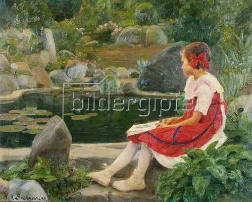 Hans Andersen Brendekilde: Mädchen an einem Teich. 1923