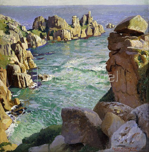 Harold Harvey: Logans Rock, Porthcurno Beach, Cornwall. 1926