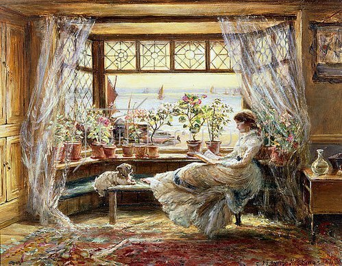 Charles James Lewis: Lesende am Fenster. 1880