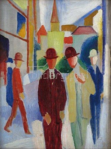 August Macke: Helle Straße mit Leuten. 1914
